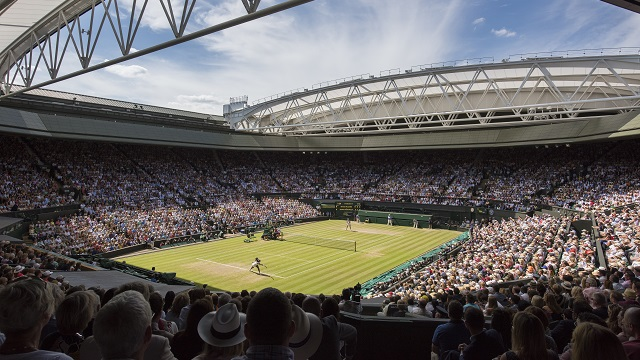General view of Centre Court during the Ladies' Singles Final between Serena Williams (USA) v Garbine Muguruza (ESP). The Championships 2015 at The All England Lawn Tennis Club, Wimbledon. Day 12 - Saturday 11/07/2015. Credit: AELTC/Chris Raphael.